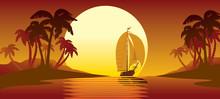 Tropical Island Sunset, Palm T...
