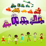 cars caravan, Group of kids playing in a landscape