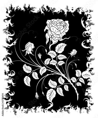 Staande foto Bloemen zwart wit Abstract grunge floral frame with rose, vector illustration