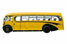 Vintage Yellow School Bus.With Clipping Path.