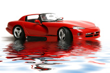 Isolated Red Sports Car On A White Background With Reflex