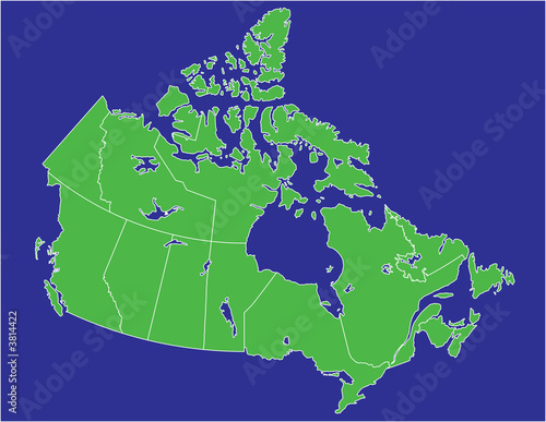 Land And Water Map Of Canada a basic map of canada with water in blue and land in green   Buy