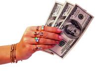 Dollars Money In Woman's Hand ...