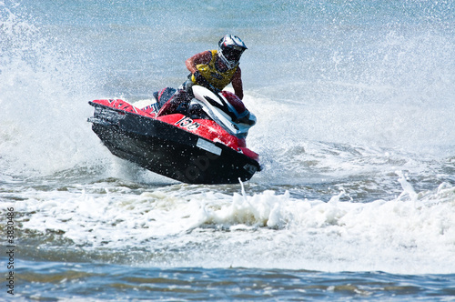 Garden Poster Water Motor sports extreme jet-ski watersports with big waves