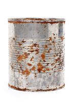 Rusty Metal Can With White Bac...