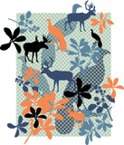 Animals and floral print.. Seamless pattern on background