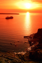One Of The Famous Sunsets In Santorini, Greece,