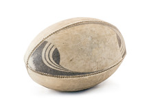 A Well Used And Worn Rugby Ball.