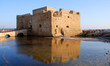 Paphos castle at paphos harbour in Cyprus late in the evening