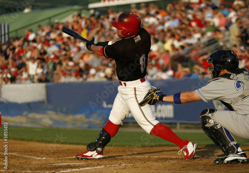 Photo  baseball hitter swinging at a pitch