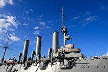 Armoured Cruiser Avrora In St. Petersburg On The Sky Background
