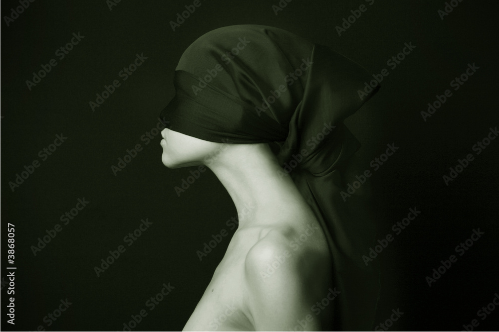 Fototapeta Naked (nude) woman with  black bandage.  Artistic photo.