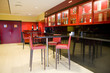 modern interior restaurant and bar on red and black colors