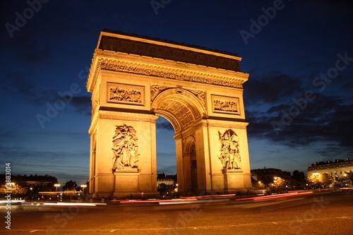 Foto-Flächenvorhang - Arc de Triomphe la nuit - Place de l'Etoile - Paris (von ParisPhoto)