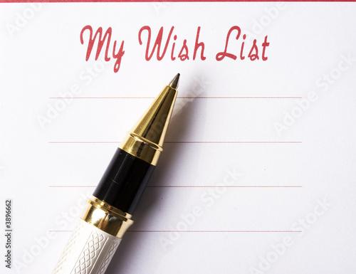 Fotografie, Obraz  Wish list with pen