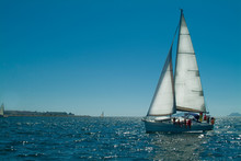 Sailing Ship With Sun Behind