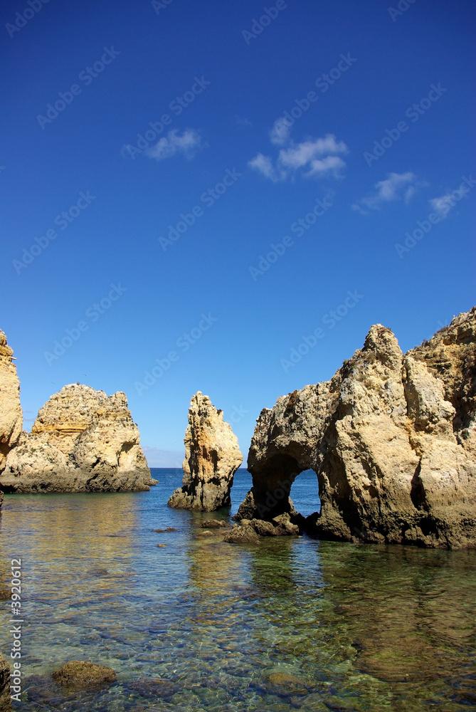 Foto-Schiebegardine Komplettsystem - Grottos in Lagos, south of Portugal.