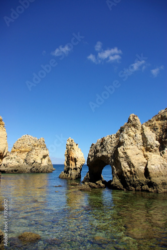 Foto-Leinwand - Grottos in Lagos, south of Portugal.
