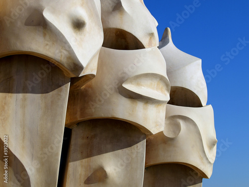 Tela Chimnies on the roof of Gaudi's La Pedrera in Barcelona, Spain