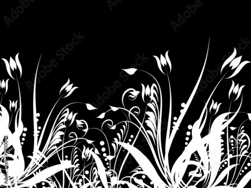 Staande foto Bloemen zwart wit Floral chaos