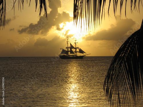 Foto-Leinwand - coucher sur bateau