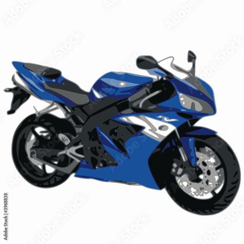 Poster Motocyclette moto bleue