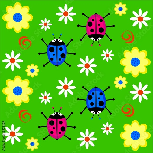 Poster Lieveheersbeestjes funky ladybug background