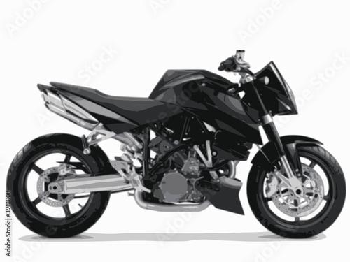 Poster Motocyclette moto noire