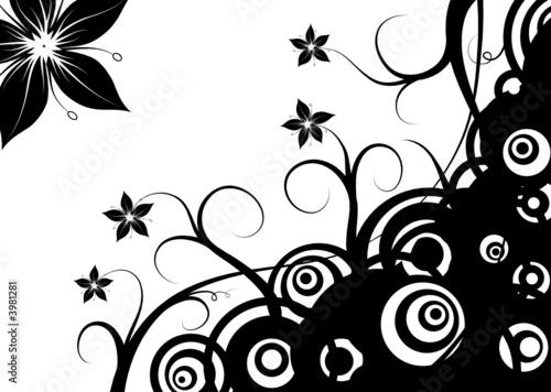 Staande foto Bloemen zwart wit Abstract retro circles & flowers, vector illustration
