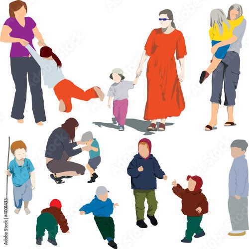 Fototapeta Mother and child (colour vector illustrations) obraz na płótnie