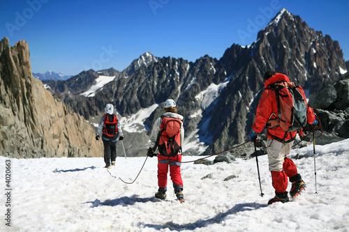 Foto op Plexiglas Alpinisme Alpinisme sur le glacier d'argentiere