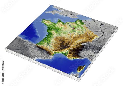 Spoed Foto op Canvas Oceanië 3D Reliefkarte von Frankreich