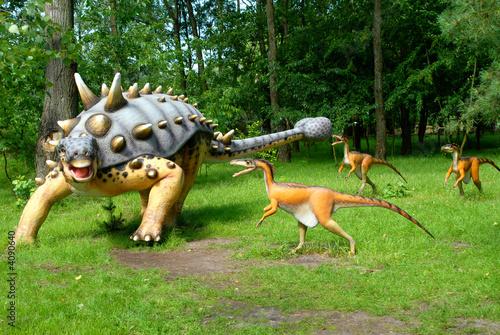 Fotografie, Tablou  Troodon attacking Euoplocephalus, dinosaurs series