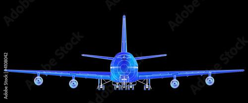 Fotografia  Super high resolution Boeing 747 blueprint rendering.