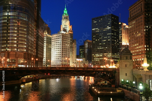 Foto op Canvas Chicago Chicago River at Night