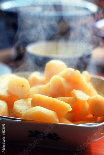 Photographie Dampfende kartoffeln