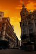 canvas print picture - Gran Via street in the center of Madrid, Spain.