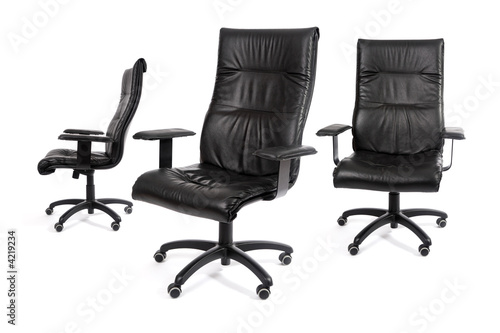 Trois fauteuil noir de bureau buy this stock photo and explore