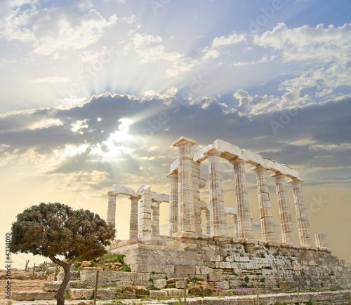Photo Stands Athens Poseidon Temple