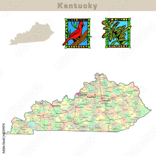 USA states series: Kentucky. Political map with counties ...