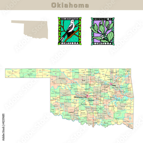 Usa States Series Oklahoma Political Map With Counties Buy This