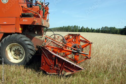 Photo  fragment of Combine Harvester at work