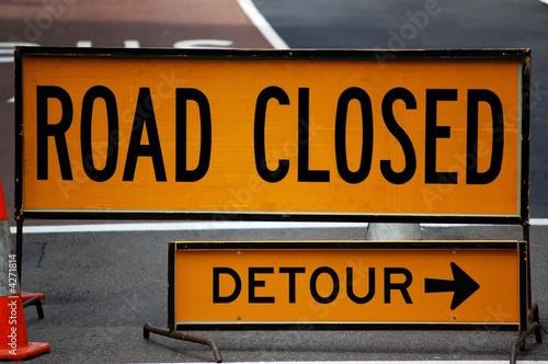 Fotografie, Obraz  Road closed: Detour