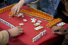 Men Playing Mah Jong In Shanghai