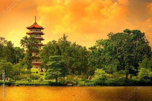 Foto op Aluminium Oranje Pagoda of the Chinese gardens in Singapore