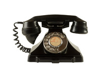 Antique Dial Telephone Isolated On White With Clipping Path