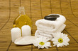 Leinwandbild Motiv Massage items on bamboo mat