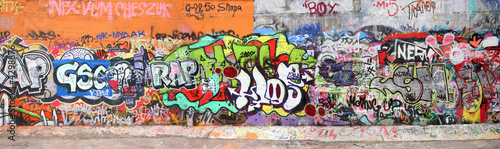 Photo wall with graffity