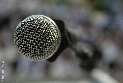 close up Microphone on rostrum Canvas Print