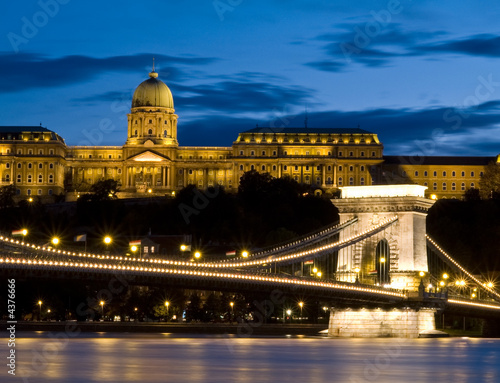 Szechenyi chain bridge and Buda castle Poster